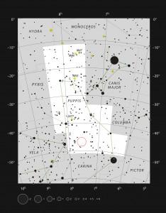 Diese Aufsuchkarte des südlichen Sternbilds Puppis (das Achterdeck, Teil des mythologischen Schiffes Argo) zeigt die meisten der unter guten Beobachtungsbedingungen mit dem bloßen Auge sichtbaren Sterne. Die Position der seltsamen kometenartigen Globule CG4 ist markiert, das Objekt ist allerdings zu schwach um visuell beobachtet zu werden und hat sich dem Nachweis durch die Astronomen bis in das 20. Jahrhundert hinein entzogen. Image credit: ESO, IAU and Sky & Telescope (Click image to enlarge)