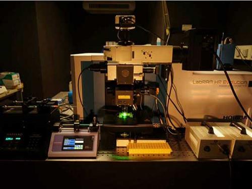 Das für die Studie verwendete Raman-Mikrospektrometer mit der für das Sortieren von isotopenmarkierten Zellen benötigten Zusatzausrüstung. (Foto credit: Marton Platinszky).