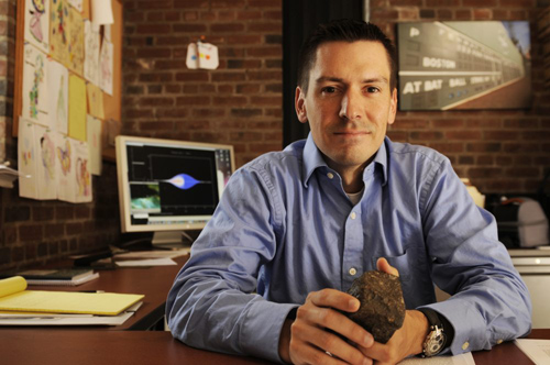 Fred Ciesla, associate professor in geophysical sciences, pursues research that cuts across the interdisciplinary boundaries of the meteorite record and the astrophysical environment of the early solar system. Photo by Dan Dry