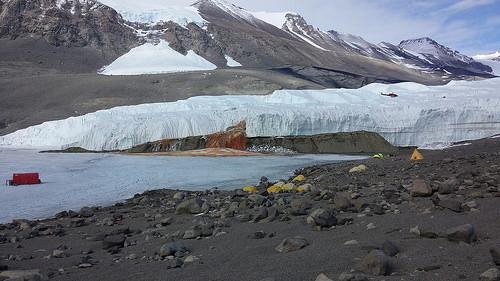 """Rauf auf den Gletscher: Die Helikopter der National Science Foundation (NSF) fliegen die Ausrüstung des internationalen Teams auf den Taylor-Gletscher. Im Hintergrund sind das blaue Zelt der """"Bodenkontrolle"""" und das grüne Startzelt des IceMole zu sehen. Image Quelle: Jill Mikucki/University of Tennessee Knoxville (CC-BY 3.0)"""