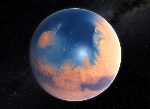 Diese künstlerische Darstellung zeigt, wie der Mars vor rund vier Milliarden Jahren ausgesehen haben könnte. Der junge Planet Mars hätte genug Wasser gehabt, um die ganze Oberfläche mit einer 140 Meter tiefen Schicht flüssigen Wassers zu bedecken. Allerdings ist es wahrscheinlicher, dass sich die Flüssigkeit in einem Ozean vereinte, der beinahe die Hälfte der Nordhalbkugel auf dem Mars bedeckte und in manchen Regionen eine Tiefe von mehr als 1,6 Kilometern erreichte. Image credit: ESO/M. Kornmesser/N. Risinger (skysurvey.org)