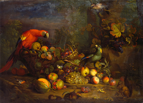 """Among the food-related artworks in the university's collections is Tobias Stranover's """"Parrots and Fruit with Other Birds and a Squirrel,"""" created between 1710 and 1724, part of the Yale Center for British Art's Paul Mellon Collection. Image credit: Yale University"""