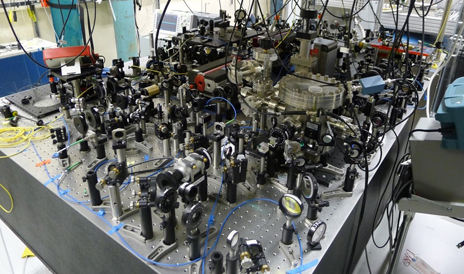A photograph of the laser setup used in the Harris lab to study quantum behavior of millimeter-sized objects. Image credit: Yale University