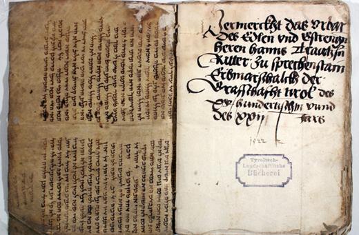 Blick auf einen Fund im Tiroler Landesarchiv: Für den Einband eines Verzeichnis von Grundbesitzrechten wurde Pergament eines Talmuds verwendet. Das Urbar stammt aus dem Jahre 1522. (Bild credit: Ursula Schattner-Rieser)