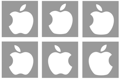 Is Apple's logo here? Examples of some of the incorrect logos shown in the study. The actual Apple logo (not shown here) resembles the bottom middle panel, with the leaf facing the other way. Image credit: Adam Blake, Meenely Nazarian, Alan Castel/UCLA Psychology