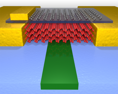 This illustration shows the high performance photodetector which uses few layer black phosphorus (red atoms) to sense light in the waveguide (green material). Graphene (gray atoms) is also used to tune the performance. Photo Credit: College of Science and Engineering