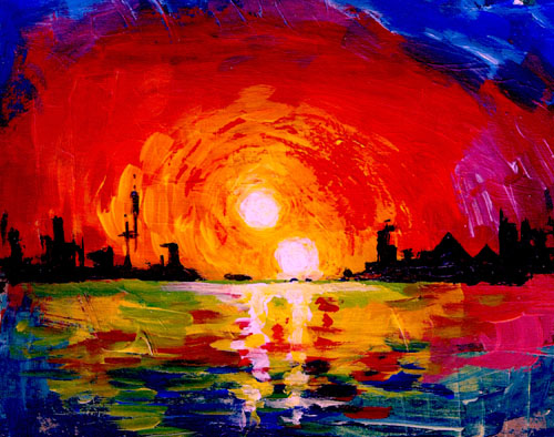 """University of Utah astrophysicist Ben Bromley used acrylics to paint this depiction of a double sunset from an inhabited Earthlike planet orbiting a pair of binary stars. To date, only gas giant planets like Saturn have been found orbiting binaries. But in a new study, Bromley and Scott Kenyon of the Smithsonian Astrophysical Observatory performed mathematical analysis and simulations showing that, contrary to scientific doubts, it is possible for a rocky planet to form around binary stars, like Luke Skywalker's home planet Tatooine in the """"Star Wars"""" films.Photo Credit: Ben Bromley, University of Utah"""
