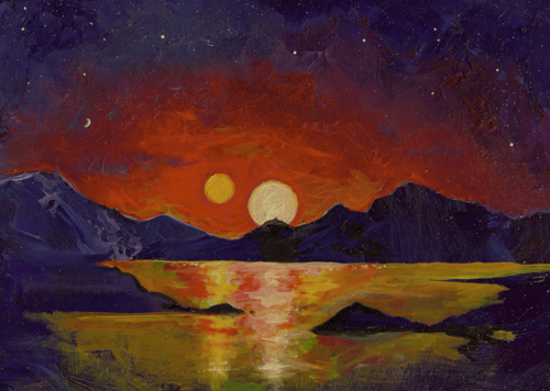 """In this acrylic painting, University of Utah astrophysicist Ben Bromley envisions the view of a double sunset from an uninhabited Earthlike planet orbiting a pair of binary stars. In a new study, Bromley and Scott Kenyon of the Smithsonian Astrophysical Observatory performed mathematical analysis and simulations showing that it is possible for a rocky planet to form around binary stars, like Luke Skywalker's home planet Tatooine in the """"Star Wars"""" films. So far, NASA's Kepler space telescope has found only gas-giant planets like Saturn or Neptune orbiting binary stars. Photo Credit: Ben Bromley, University of Utah"""
