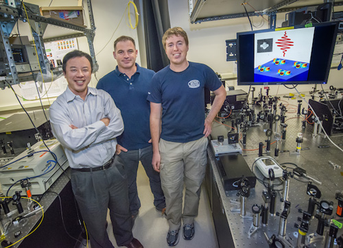 Xiang Zhang, Haim Suchowski and Kevin O'Brien were part of the team that discovered a way to predict thenon-linear optical properties of metamaterials. (Photo by Roy Kaltschmidt)