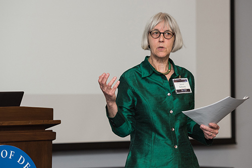 Deborah Johnson of the University of Virginia discusses ethics and big data at the UD conference. Photo by Kathy F. Atkinson