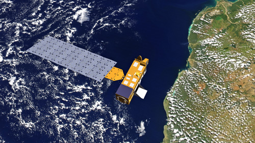 """NASA's Aura satellite, shown in this artist's depiction orbiting above Africa, collected data on hydrogen isotope ratios in water vapor close to Earth's surface as part of a University of Utah study showing the fate of rainwater and snowmelt that falls on land and doesn't flow to the sea. They found two-thirds of that water is taken up by plants and then transpired or """"exhaled"""" to the atmosphere. That's less than previous estimates of more than 80 percent, suggesting plants globally are either less productive or make more efficient use of water than previously believed. Photo credit: NASA"""