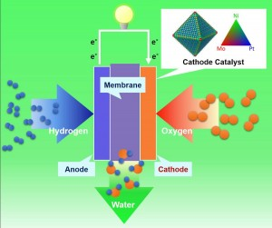 PEM fuel cell. Adding a third metal, molybdenum, to the surface of platinum-nickel nanostructures made the alloy surface more stable and prevented the loss of nickel and platinum over time. Image credit: Yu Huang Lab/UCLA (Click image to enlarge)