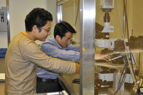 Postdoctoral researcher Zhiqiang Luo (right) and graduate student Yuanwen Jiang discuss an imaging system for visualizing the interfaces between mesostructured silicon and single cells. Their work explores new effects in the design of high-performance semiconductor-based bioelectronics and implants. Image courtesy of Bozhi Tian Group