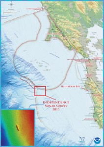 The shipwreck site of the former aircraft carrier, Independence, is located in the northern region of Monterey Bay National Marine Sanctuary. Half Moon Bay, California was the port of operations for the Independence survey mission. The first multibeam sonar survey of the Independence site was conducted by the NOAA ship Okeanos Explorer in 2009. Image credit: NOAA's Office of Ocean Exploration and Research and NOAA's Office of National Marine Sanctuaries (click image to enlarge)