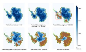 This chart shows how Antarctic ice would be affected by different emissions scenarios. (GtC stands for gigatons of carbon.) It is provided courtesy of Ken Caldeira and Ricarda Winkelmann. (Click image to enlarge)