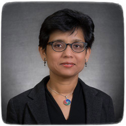 Suchi Guha helped develop biodegradable electronics by using organic components in screen displays. Advancements could one day help reduce electronic waste in the world's landfills. Image credit: University of Missouri