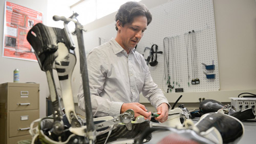 Greg Sawicki's research gets a leg up on locomotion. Photo by Marc Hall, NC State University