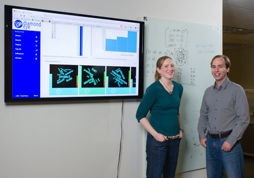 GTRI researchers Amy Sharma and David Ediger are shown with analytics produced by Diamond Eye, including word clouds that display automatically derived topic areas. (Photo credit: Rob Felt, Georgia Tech)