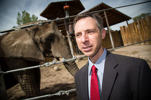 Joshua Schiffman, M.D., pediatric oncologist at the Huntsman Cancer Institute at the University of Utah, has led a study that could explain why elephants rarely get cancer. Elephants have extra copies of a gene that encodes a well-defined tumor suppressor, p53. Elephants may also have a more robust mechanism for killing damaged cells that are at risk for becoming cancerous. The findings could lead to new strategies for treating cancer in humans. PHOTO CREDIT: University of Utah Health Sciences