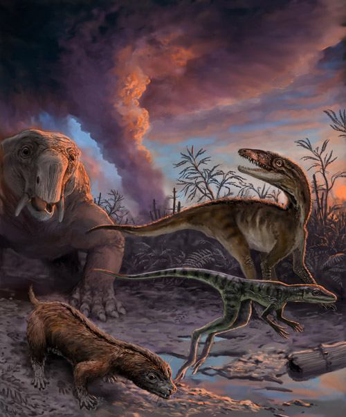 Animals escaping from an erupting volcano 235 million years ago in northwestern Argentina. These species, found as fossils in the Chañares Formation, include early mammal relatives (the dicynodont Dinodontosaurus in the left background, and the cynodont Massetognathus in the left foreground) and early dinosaur precursors (Lewisuchus in the right background, and Lagerpeton in the right foreground). By measuring radioactive isotopes in zircons crystals from the volcanic ash, scientists were able to determine the precise age of this fossil assemblage. PHOTO CREDIT: Victor Leshyk