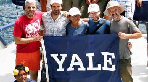 Members of the team included Nikos Poulakakis, Luciano Beheregaray, Adalgisa Caccone, Joshua Miller, and Cladio Ciofi. (Photo by Jane Braxton Little)