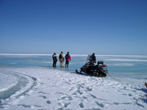 A thin crust of snow hides sea ice in various stages of melting and re-freezing. Sea ice temperature and salinity are critical to determining whether or not percolation will occur. PHOTO CREDIT: Ken Golden, University of Utah