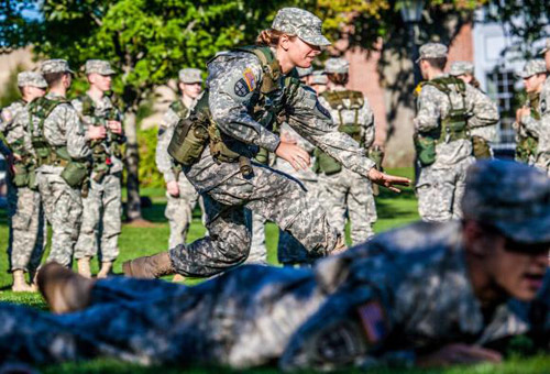Training while studying. In addition to their regular University studies, Army ROTC cadets engage in several training sessions a week and leadership classes. Photo credit: Michael Cohea/Brown University