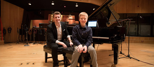 Eleven-year-old composer Garrett Weyenberg, right, and StaffPad creator David William Hearn are pictured in Angel Studios in London on Jan. 29, 2016. Photo by David Palmer.