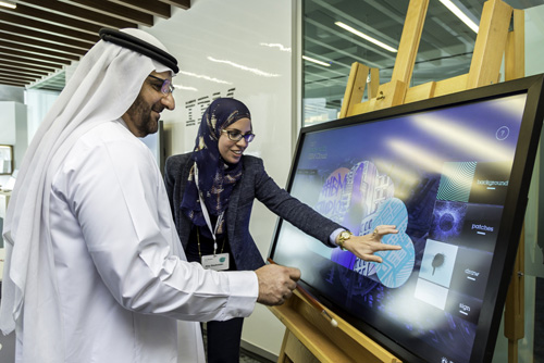 H.E. Abdulla Abdul Rahman Al Shaibani, Secretary General of the Executive Council of Dubai at the IBM Studio – Dubai launch creating art made with IBM Cloud (Image credit: IBM)