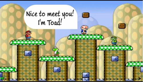"""Luigi und Toad lernen sich kennen. Grafik credit: Projekt """"Mario Al"""""""