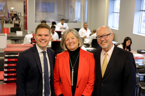 From left to right: Co-Founders Christian Bak, Ulla Bak, and JP Bak in the clean room at BAK USA. Photo credit: Microsoft