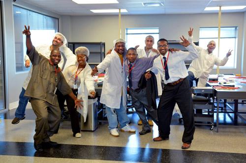 A team of BAK USA operators in the clean room at BAK USA. Photo credit: Microsoft