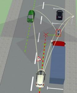 Szenarien wie diese könnten künftig durch die Kommunikation der Fahrzeuge untereinander gelöst werden. Im abgebildeten Fall verständigen sie sich darauf, dass sie zunächst den Fußgänger die Straße überqueren lassen, dass dann das weiße Fahrzeug seine Fahrt fortsetzt, und schließlich das grüne Fahrzeug vor dem LKW einparkt. Bild-Credits: truck: copyright resources.blogscopia (licensed under creative commons 2.5 CC BY 2.5); small concept car: copyright doschdesign (licensed under creative commons 2.5 generic CC BY 2.5) (Click image to enlarge)