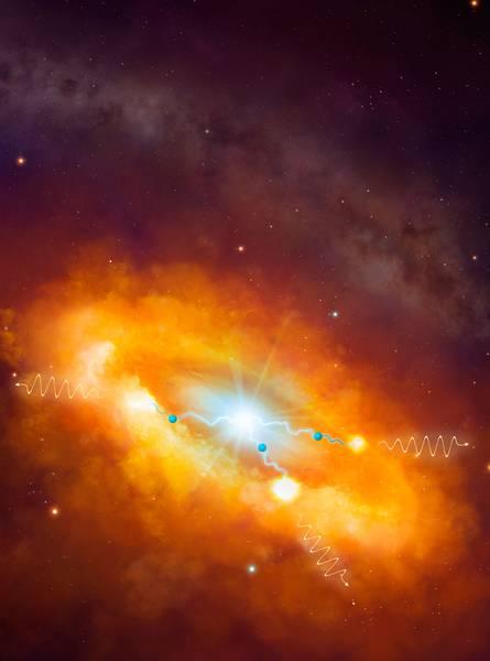 Ein kosmisches Pevatron im Zentrum der Milchstraße. Künstlerische Darstellung der Prozesse, die zur Entstehung der Gammastrahlung beitragen. Protonen (dargestellt als blaue Kugeln), die von Sagittarius A* (helle Quelle im Zentrum) beschleunigt wer-den, wechselwirken mit Molekülwolken der Umgebung. Bei der Wechselwirkung werden unter anderem Pionen erzeugt, die fast sofort zu Gammastrahlungsphotonen zerfallen (gelbe Wellen). Im Hintergrund: Aufnahme der Milchstraße im sichtbaren Licht. Illustration credit: Dr. Mark A. Garlick / H.E.S.S.-Kollaboration