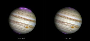 Jupiter's X-ray emission (in magenta and white, for the brightest spot, overlaid on a Hubble Space Telescope optical image) captured by Chandra as a coronal mass ejection reaches the planet on 2 October 2011, and then after the solar wind subsides on 4 October 2011. Image credit: Joseph DePasquale, Smithsonian Astrophysical Observatory Chandra X-ray Center (Click image to enlarge)