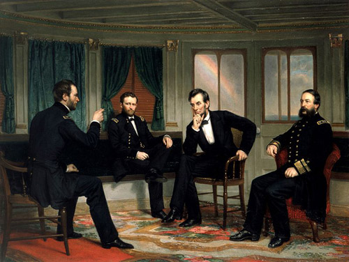 President Lincoln (center right) with, from left, Generals Sherman and Grant and Admiral Porter – 1868 painting of events aboard the River Queen in March 1865. Image credit: George Peter Alexander Healy  (Source: Wikipedia)