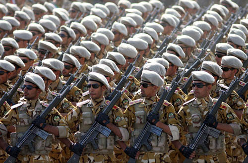 Islamic Republic of Iran Army soldiers marching in front of highest-ranking commanders of Armed Forces of the Islamic Republic of Iran during Sacred Defence Week parade. Photo credit: Reza Dehshiri (Source: Commons.Wikimedia)