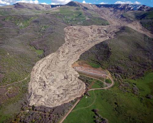 This 2014 landslide in Mesa County, Colorado contained 30 million cubic meters or rock and ran out for 2.8 miles. New research helps explain how these large slides are able to run out so far. Image credit: Jon White/Colorado Geological Survey