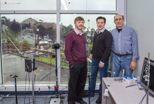 Berkeley Lab scientists (from left) Raymond Weitekamp, Arman Shehabi, and Steve Selkowitz will use the Berkeley Lab windows test lab in developing a paintable heat-reflective coating for low-cost energy efficient windows. (Photo credit: Roy Kaltschmidt/Berkeley Lab)