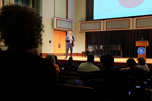 Scott Page discusses the benefits of diversity in solving difficult problems. Photo by David Barczak