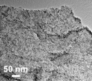 Nitrogen-rich graphene festooned with finely tuned copper nanoparticles selectively converts carbon dioxide to ethylene. Image credit: Sun Lab / Brown University