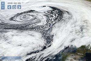 """eoNetTambora sammelt aktuelle Daten der NASA – hier eine Satellitenaufnahme des Sturms """"Imogen"""" über Irland vom Februar 2016 – und historische Klimaaufzeichnungen. Bild Quelle: NASA/GSFC/Earth Science Data and Information System"""