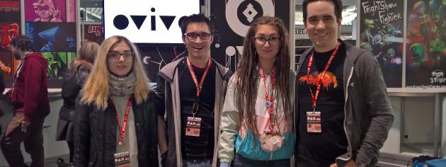 "Team IzHard members Dari Chernova, Alexander Vilassak and Daria Kruzhinskaya showcase ""OVIVO"" at PAX East with Microsoft Imagine Cup Competition Manager Pablo Veramendi, at far right. Image credit: Microsoft"