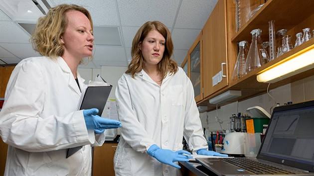 Neuroscientist Jaclyn Schwarz (left) works with research assistant Brittany Osborne, a doctoral student. Photo by Evan Krape