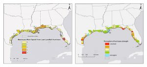 Princeton University-led research found that people's view of future storm threat is based on their hurricane experience, gender and political affiliation, despite ample evidence that Atlantic hurricanes are getting stronger. This could affect how policymakers and scientists communicate the increasing deadliness of hurricanes as a result of climate change. The figure above shows the wind speed of the latest hurricane landfall (left) on the U.S. Gulf Coast by county up to 2012, with red indicating the strongest winds. The data on the right show for the same area, by county, public agreement with the statement that storms have been strengthening in recent years, which was posed during a 2012 survey. Blue indicates the strongest agreement, while red equals the least agreement. Image courtesy of Ning Lin, Department of Civil and Environmental Engineering (Click image to enlarge)