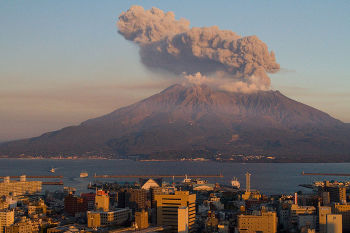 Sakurajima, right across Kagoshima, one of the most active volcanoes in the world. Image credit: Kimon Berlin (Source: Wikipedia)