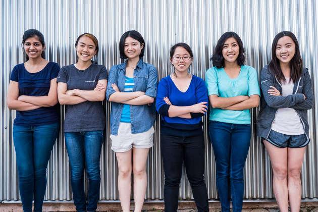 Chandani Doshi, Jialin Shi, Bonnie Wang, Charlene Xia, Tania Yu and Grace Li of Team Tactile. Photo by Brian Smale / © Microsoft