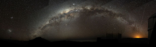 A fish-eye mosaic of the Milky Way arching at a high inclination across the night sky, shot from a dark-sky location in Chile. Image credit: Bruno Gilli/ESO (Source: Wikipedia)