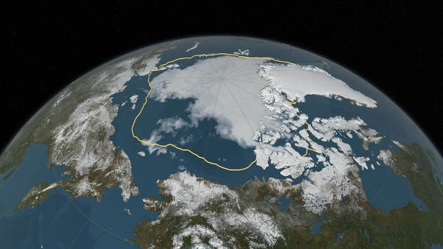 Arctic sea ice on September 10, 2016, when the ice reached its annual minimum. The gold line marks the 36 year average minimum sea ice extent computed over the time period from 1979 (when the satellite record began) through 2014(Image credit:NASA)