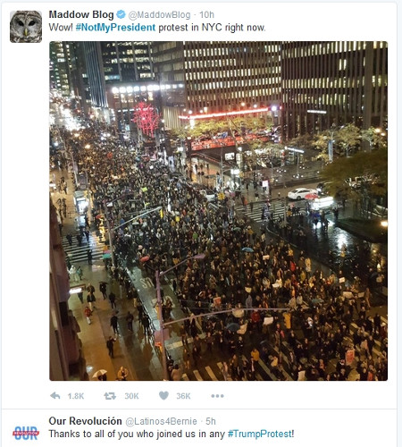 #NotMyPresident protest in NYC right now. Image credit: Twitter
